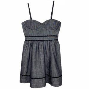 Forever 21 Gray Fit & Flare Bustier Dress, Medium